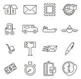 Los iconos del servicio de entrega o del servicio de envío enrarecen la línea sistema del ejemplo del vector stock de ilustración