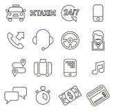 Los iconos del servicio del taxi enrarecen la línea sistema del ejemplo del vector ilustración del vector
