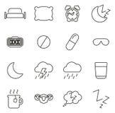 Los iconos del sueño o el dormir alinean ligeramente el sistema del ejemplo del vector Imagen de archivo