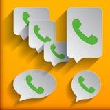 Los iconos del teléfono fijaron en burbuja y botón del discurso Fotografía de archivo libre de regalías