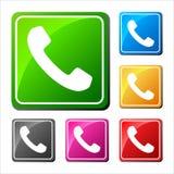 Los iconos del teléfono fijaron en burbuja y botón del discurso Imagen de archivo libre de regalías