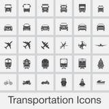 Los iconos del transporte fijaron vector aislado en fondo gris stock de ilustración