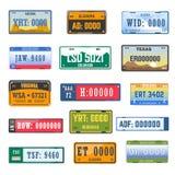 Los iconos del vector de la colección de los números de matrícula del registro de vehículo fijaron de banderas de país diferente ilustración del vector