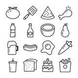 Los iconos del vector de la comida, de la bebida y de la cocina embalan ilustración del vector