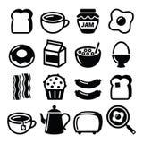 Los iconos del vector de la comida de desayuno fijaron - la tostada, huevos, tocino, café Imágenes de archivo libres de regalías