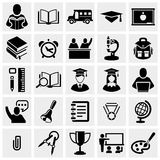 Los iconos del vector de la escuela y de la educación fijaron en gris. stock de ilustración