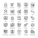 Los iconos del vector de las compras fijaron 1 ilustración del vector