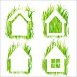 Los iconos del vector del hogar de la hierba verde fijaron 1. Fotografía de archivo