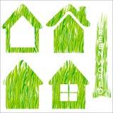 Los iconos del vector del hogar de la hierba verde fijaron 2. Fotos de archivo
