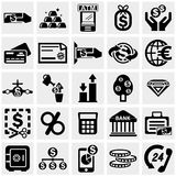 Los iconos del vector del negocio y de las finanzas fijaron en gris Imagen de archivo