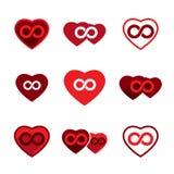 Los iconos del vector del tema del amor fijaron, idea infinita del amor, conceptual Foto de archivo
