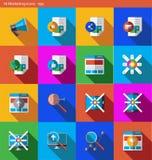 Los iconos del vector EPS fijaron - márketing y publicidad en estilo plano con la sombra stock de ilustración