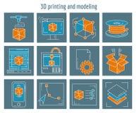 Los iconos del vector fijaron la impresión 3d y el modelado Imagen de archivo
