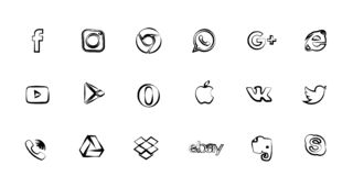 Los iconos del vector tienen gusto, llaman por teléfono, cámara y pájaro para los medios sociales, páginas web, interfaces Como e stock de ilustración