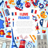 Los iconos del viaje de Francia circundan la postal con símbolos franceses famosos Fotos de archivo libres de regalías