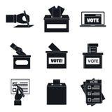Los iconos del voto de la caja de la votación de votación fijaron, estilo simple ilustración del vector