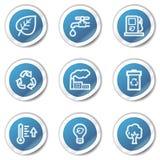 Los iconos del Web de Eco fijaron 1, serie azul de la etiqueta engomada Imagen de archivo libre de regalías