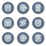 Los iconos del Web de la base de datos, círculo mineral abotonan serie Fotografía de archivo