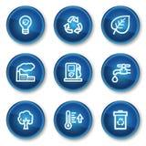 Los iconos del Web de la ecología fijaron 1, botones azules del círculo libre illustration