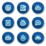 Los iconos del Web de la ecología fijaron 4, botones azules del círculo Fotos de archivo libres de regalías