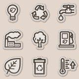 Los iconos del Web de la ecología fijaron 1, etiqueta engomada marrón del contorno Imagenes de archivo
