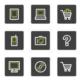 Los iconos del Web de la electrónica fijaron 1, botones cuadrados grises Imagen de archivo