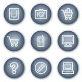 Los iconos del Web de la electrónica fijaron 1, círculo mineral Foto de archivo libre de regalías