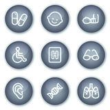 Los iconos del Web de la medicina fijaron 2, botones minerales del círculo Foto de archivo libre de regalías