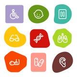Los iconos del Web de la medicina fijaron 2, serie de los puntos del color Imagen de archivo libre de regalías