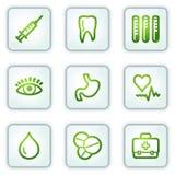 Los iconos del Web de la medicina, la casilla blanca abotonan serie Fotografía de archivo libre de regalías