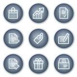 Los iconos del Web de las compras, círculo mineral abotonan serie Fotos de archivo