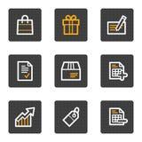 Los iconos del Web de las compras, gris abotonan serie Foto de archivo libre de regalías