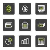 Los iconos del Web de las finanzas fijaron 1, botones cuadrados grises Imágenes de archivo libres de regalías