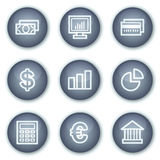 Los iconos del Web de las finanzas fijaron 1, botones minerales del círculo Fotografía de archivo libre de regalías