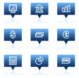 Los iconos del Web de las finanzas fijaron 1, burbujas azules del discurso Fotos de archivo libres de regalías