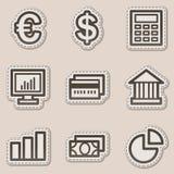 Los iconos del Web de las finanzas fijaron 1, etiqueta engomada marrón del contorno Fotos de archivo