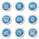 Los iconos del Web de las finanzas fijaron 1, serie azul de la etiqueta engomada Imágenes de archivo libres de regalías
