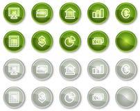 Los iconos del Web de las finanzas fijaron 1, serie de los botones del círculo Fotografía de archivo
