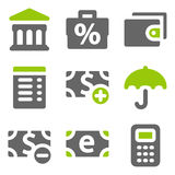 Los iconos del Web de las finanzas fijaron 2, iconos sólidos grises del verde Foto de archivo libre de regalías
