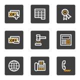 Los iconos del Web de las finanzas fijaron 2, serie de los botones del gris Imagen de archivo libre de regalías