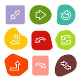 Los iconos del Web de las flechas, color manchan serie Fotos de archivo