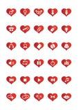 Los iconos del Web del amor fijaron 2 stock de ilustración