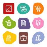 Los iconos del Web del comercio electrónico, color manchan serie Imagen de archivo