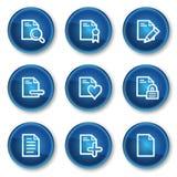 Los iconos del Web del documento fijaron 2, botones azules del círculo Fotografía de archivo