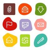 Los iconos del Web del email, color manchan serie Foto de archivo libre de regalías