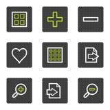Los iconos del Web del espectador de la imagen fijaron 2, botones cuadrados grises Imagenes de archivo