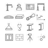 Los iconos del web del esquema fijaron - las herramientas del edificio, de la construcción y de diseño fotografía de archivo libre de regalías