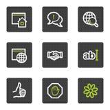 Los iconos del Web del Internet fijaron 1, botones cuadrados grises Fotos de archivo libres de regalías
