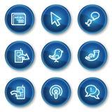 Los iconos del Web del Internet fijaron 2, botones azules del círculo ilustración del vector