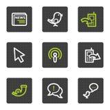 Los iconos del Web del Internet fijaron 2, botones cuadrados grises Fotos de archivo